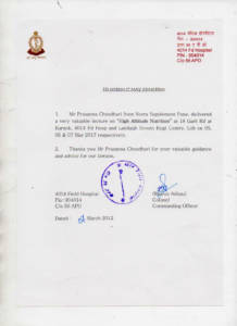 Honorable Col. Rajesh Adhau Appreciation Letter